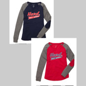Hard 90 Baseball Ladies Long Sleeve Patch Tee